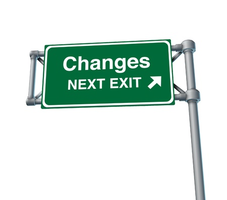 exit sign: changes Freeway Exit Sign highway street symbol green signage road symbol isolated Stock Photo