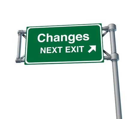 sortir: Freeway changements Sortie autoroute signe de rue symbole vert symbole de la route signalisation isol�s