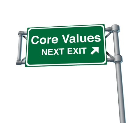 Core Values business symbol street road sign icon photo