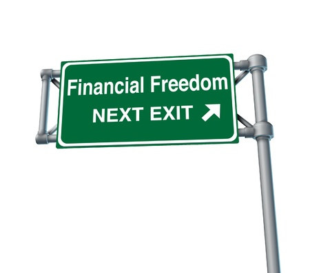 financial freedom business Freeway Exit Sign highway street symbol green signage road symbol isolated Stock Photo - 11382035