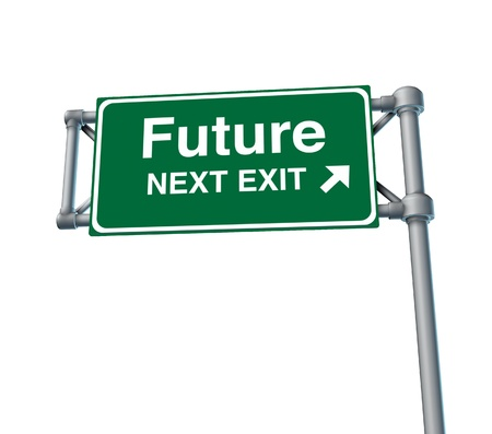 exit sign: future predictions Freeway Exit Sign highway street symbol green signage road symbol isolated
