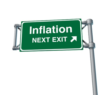 inflation economy prices rise busiiness symbol freeway sign road Stock Photo - 11382015