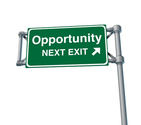 Opportunity Freeway Exit Sign highway street symbol green signage road symbol,isolated photo