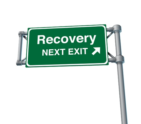 Recovery economy business health road sign photo