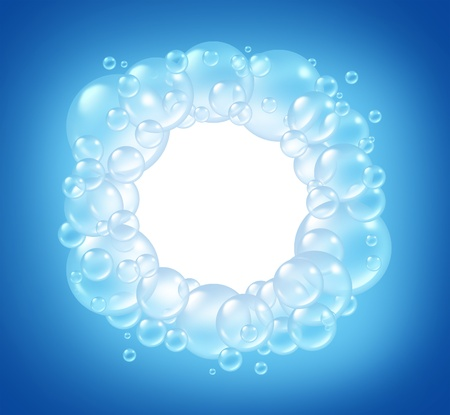 Bubbles blank circle in clean water and transparent soap sud  bubble composition with a soap suds in many circular sizes in the air floating as clean blue symbols of washing and freshness. photo