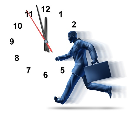 late: Business deadlines and corporate meetings symbol of urgency with ticking clock symbol as stress of urgent time constraints for delivering jobs and projects represented by a running business man with a suit case with motion streaks. Stock Photo
