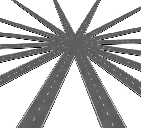 Business-Team-Verbindung Symbol durch ein Netz von Straßen und Autobahnen Verschmelzung zu einem Mittelpunkt, welche Teamarbeit und gemeinsame Ziele Vision und einen klaren Weg zu einer einheitlichen Strategie vertreten.