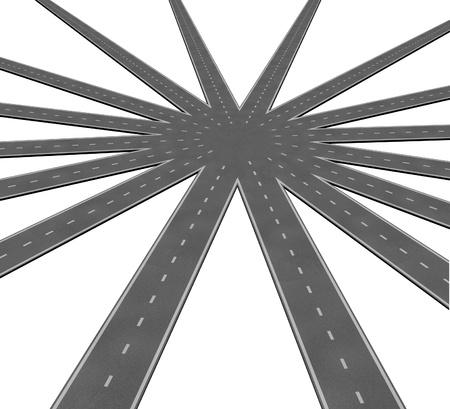 unificar: Equipo de negocios s�mbolo de conexi�n representada por una red de caminos y carreteras fusi�n a un punto central que muestra el trabajo en equipo y la visi�n de objetivos comunes y un camino claro hacia una estrategia unificada.