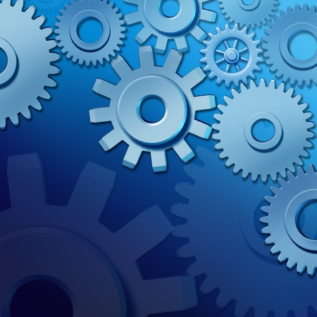 entrepreneurial: Business teamwork and industry concept  with gears and cogs as a symbol of companies and entrepreneurial spirit as a blue themed background