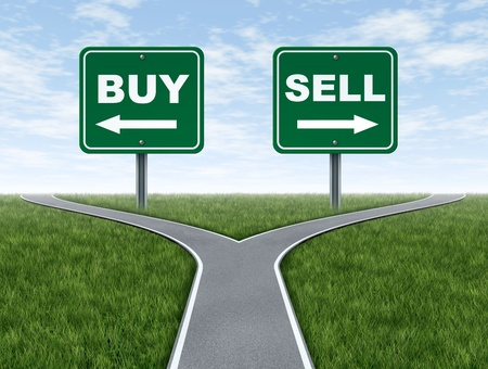 investing: Buy and sell decision dilemma crossroads of financial investing using a stock broker investment advisor and a symbol of difficult choices for profit or loss in finances and business of future savings.