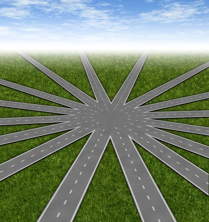 merging together: Choices and strategies symbol represented by a network of roads and highways merging to a center point showing many options and paths available to a team and common goals vision and a multiple paths to a unified strategy.
