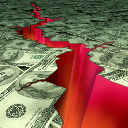 magnitude: Financial disaster and economic earthquake symbol and concept of struggling economy and doomsday predictions of the market recesion and U.S debt and deficit showing American currency cracked and damaged by a deep red rupture.
