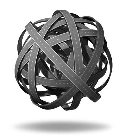 knotting: Direzione confusione e ha perso andando da nessuna parte nel mondo degli affari e simbolo della vita rappresentato da intricate strade bundeled e autostrade interconnesse in una caotica direzione complicato e poco chiaro percorso sconcertante che non ha fine o all'inizio come una strategia sbagliata e perdendo