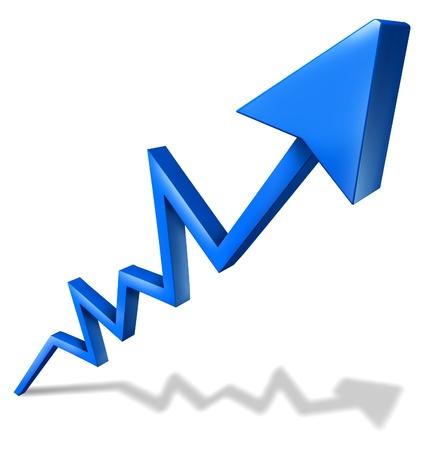 ascending: Las ganancias y el �xito del negocio gr�fico con una flecha azul apuntando hacia arriba y el aumento de un s�mbolo de �xito financiero y los indicadores econ�micos de rentabilidad y crecimiento en cuota de mercado en el fondo blanco con la sombra.