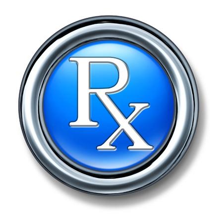 상징: 약사 기호와 의사가 추천하는 약을 대표하는 건강 문제에 대한 의료 개념에 대한 처방전 블루 buton.