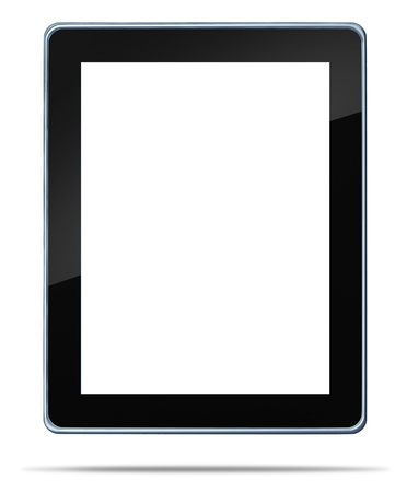 palmtop computer: Tablet computer with a blank white digital display touch screen as an  electronic gadget on a white background and shadow symbol of technology concept of computing media tool for digital content distribution for music e-books movies and internet browsing. Stock Photo