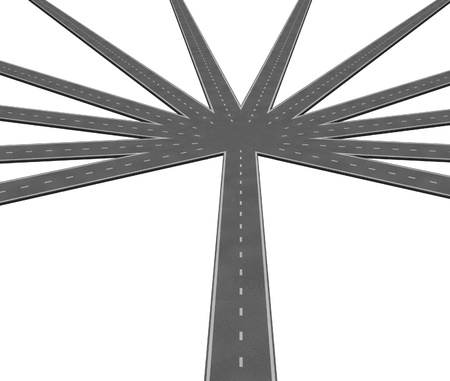 merging: Multiple strategies and business options symbol represented by a central road leading to multiple radiating roads representing the different options available for deciiding on what route to take. Stock Photo