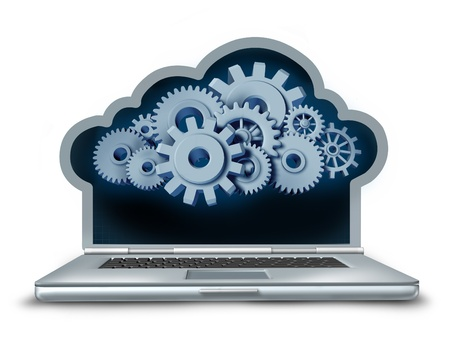 remote server: Cloud computing symbol represented by a laptop computer in the shape of a cloud providing streaming digital content from a remote server to the computing device made of gears and cogs.