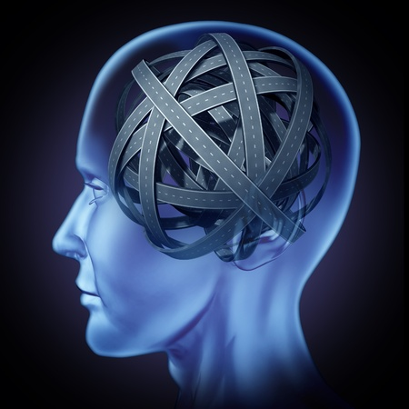 brain mysteries: Confused puzzled mind and brain problems symbol featuring a human head with tangled mixed roads and paths representing the concept of cognitive illness and memory loss solving to find a solution and answers to mysteries of the human brain. Stock Photo