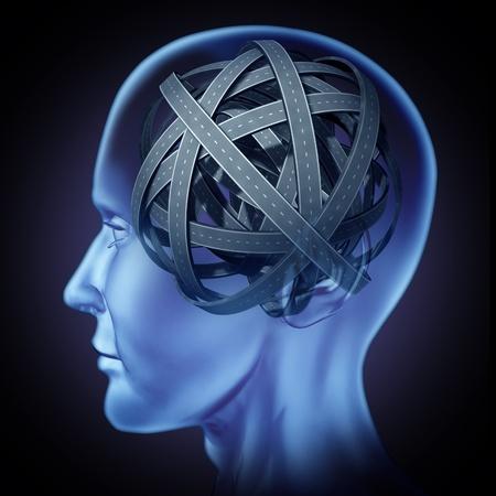 mente humana: Mente confusa y perpleja cerebro s�mbolo de los problemas con una cabeza humana con enredados caminos y rutas mixtas que representan el concepto de enfermedad cognitiva y la p�rdida de la memoria la soluci�n para encontrar una soluci�n y respuestas a los misterios del cerebro humano.