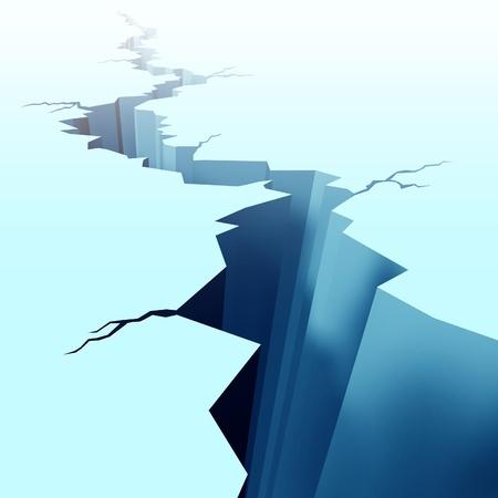 deep freeze: Hielo picado en la planta congelada del invierno que muestra un enorme agujero en el suelo causado por una tierra peligrosa rotura de desastre s�smico que fue muy alto en la escala de Richter, causando secuelas de la congelaci�n del invierno en un lago de la cama.