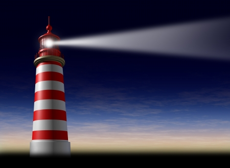 Lighthouse beam of light and beacon of hope and strategic guidance symbol as a concept of beaming light from the high tower for security and clear direction assistance in planning a journey or business strategy on a night horizontal sky before sunset or d Imagens