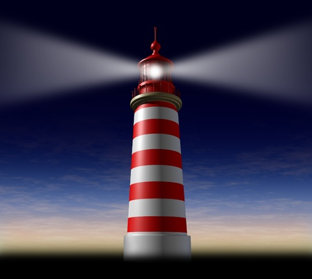 Beacon of hope and strategic guidance symbol with a lighthouse concept beaming light from the high tower for security and clear direction assistance in planning a journey or business strategy on a night sky before sunset or dusk. photo