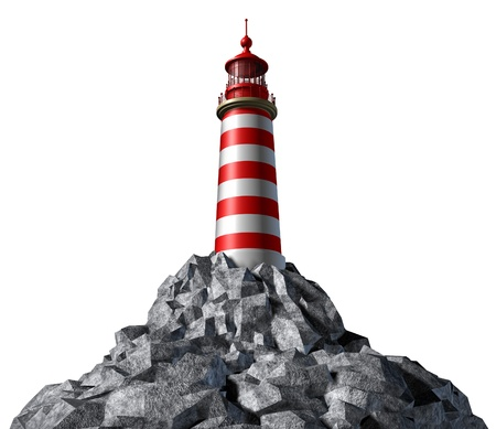 business metaphore: Lighthouse on a rock mountain and strategic guidance symbol with a light house concept on a white background from the high tower for security and clear direction assistance in planning for a business strategy and clear guidance and consultation advice.