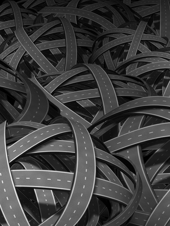 going nowhere: Lost and confused direction going nowhere in business and life symbol represented by tangled bundeled roads and highways interlinked in a chaotic unclear complicated direction and perplexing path that has no end or beginning as a wrong strategy and losing