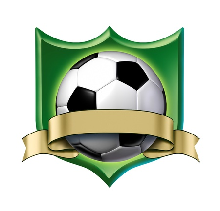 Soccer crest award with blank gold label showing a soccer ball tournament champion symbol represented by a white and black ball and golden ribbon as a concept of team sports competion winning and soccer course  game activity.
