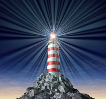 beacons: Beaming light from a lighthouse on a rock mountain and strategic guidance as a symbol for solutions and answers with a light house concept on a black background for security and clear direction assistance in planning for a business strategy and clear guid