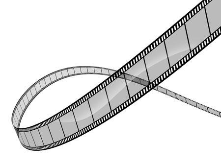 celluloid film: 3d film on white background representing cinema and movie directing as a the film industry symbol with a spiral curved roll of film floating in dimensional space showing the concept of visual media.