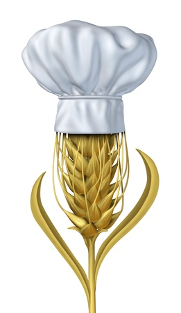 Bakery and baker symbol with wheat on a white background as a single growing natural grass plant and chef hat for farming and harvesting a healthy  high fibre yellow golden grain crop for baking and baked goods like bread and cereals and pastries. Stock Photo