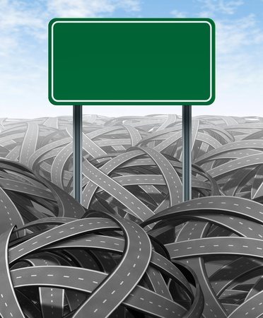 Challenges and obstacles with a green blank highway sign representing the concept of solutions and answers in a confusing maze of tangled roads showing the nedd for management and leadership with a clear strategy to move through the red tape. Stock Photo - 11382064