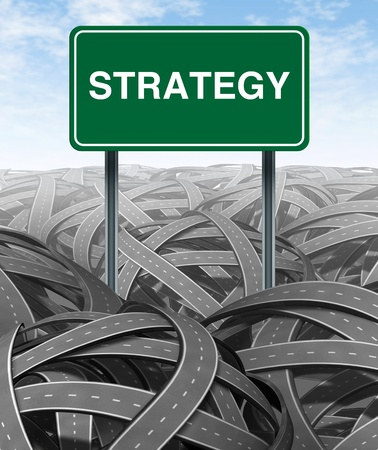 highway sign: Business strategy and challenge with green highway sign for Solutions and success with clear vision due to careful planning and management building a road bridge over a maze of tangled mess of roads and highways cutting through the confusion and succeedin