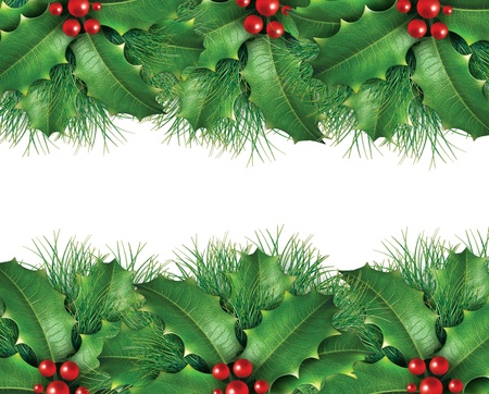 Christmas background image with  wreath holly and green pine Stock Photo - 11382070