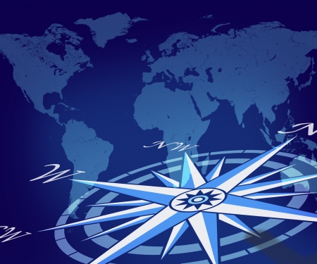 compass rose: Map of the globe with compass on blue world background representing travel direction and business traveling journey for navigating to new global trading opportunities with the world. Stock Photo