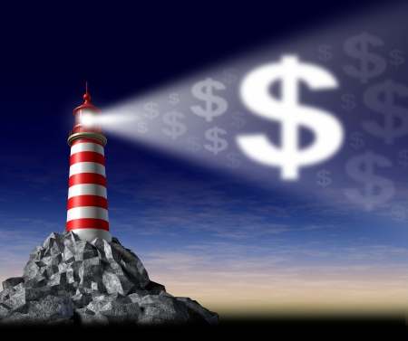 business metaphore: How to make money symbol with a lighthouse beaming a guiding light in the shape of a dollar sign as guidance and teaching financial freedom and success and secret path to profits and rich wealth and wealthy lifestyle. Stock Photo