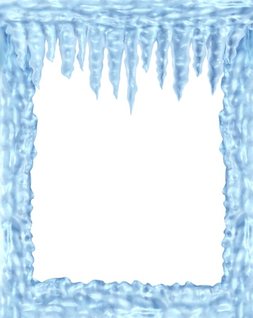 Frozen ice and icicles frame winter design element on a blank white background representing the cold arctic weather and low freezing  temperatures resulting in hanging shiny transparent ice crystals. Stock Photo - 11382058