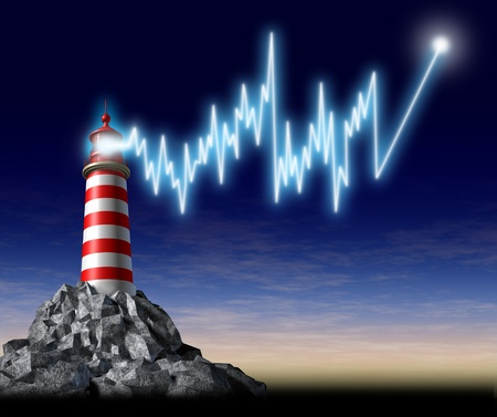 investing: Investing advice and financial guidance represented by a lighthouse with a beaming shining light in the shape of a stock market graph that is pointing to higher as a business finance symbol of good professional wealth management from an advisor. Stock Photo