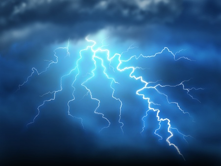 rainstorm: Lightning storm thunderstorm with a bolt of light electricity from a dark cloudy blue night sky showing power of natural destruction and dramatic weather storm resulting in disaster and electrical shock. Stock Photo