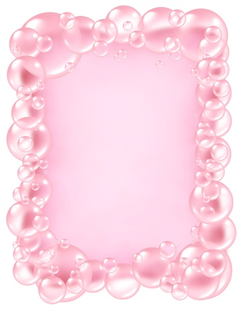 clean background: Pink bubbles frame and transparent bath soap sud  bubble composition  with blank area in the middle for text with bunch of foam soap suds in many circular sizes in the air floating as clean dainty pretty symbols of washing and freshness. Stock Photo
