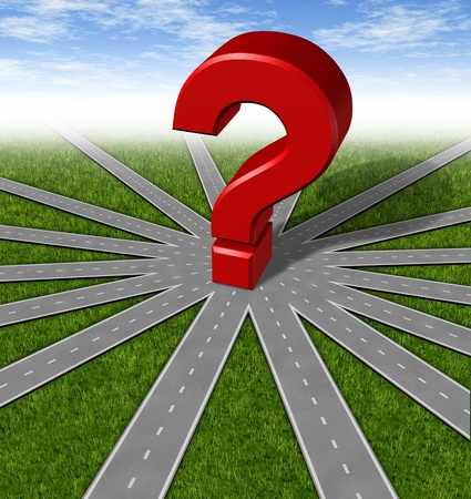 business dilemma: Questions and strategies symbol represented by a network of roads and highways merging to a center point with a red 3d question mark showing many options and paths available to a team and common goals vision and a multiple paths to a unified strategy. Stock Photo