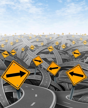 off path: Solutions and strategy with goals and strategic journey choosing the right strategic path for business with yellow traffic signs with arrows tangled roads and highways in a confused direction.