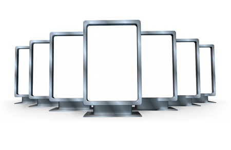 Advertising and marketting campaign with multiple blank vertical billboards made of shiny metal in different angles representing a sales display for a ad program for selling goods and servisces for a business . Stock Photo - 11404968