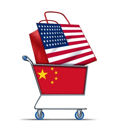 U.S. for sale with China buying American debt with a shopping cart as a Chinese concept and a shopping bag with a flag of the U.S.A. as an economic trading idea of the state of the American financial health in regards to selling U.S. assets to foreigners  Stock Photo