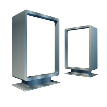 Blank vertical billboards in different angles representing an advertisement commercial display for a promotional campaign as a marketing business made of shiny metal. Stock Photo - 11404965