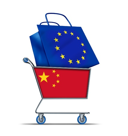 creditor: Europe bailout with China buying European debt with a shopping cart as a Chinese concept and a bag with a flag of the European Union as an economic trading idea of selling  European assets to Asia.