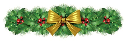 Christmas Gold silk bow border decoration with pine design element as an  ornamental holiday decoration for Holiday festive winter celebration on a white background. photo
