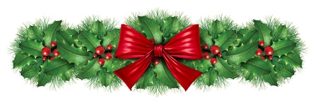 Christmas decoration border with red silk bow with pine border ornamental holiday decoration for Holiday festive winter celebration on a white background. Stock Photo